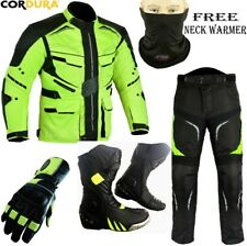 HiViz REFLECTIVE CE ARMOR MOTORBIKE MOTORCYCLE JACKET TROUSERS GLOVES BOOTS SUIT