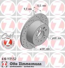 Disque de frein arriere ZIMMERMANN PERCE 610.1171.52 VOLVO 740 744 2.3 Turbo 156