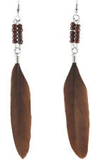 F1560 fashion brown Feather beads dangle chandelier earrings jewelry