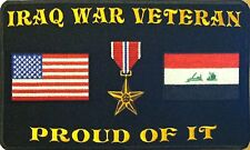 IRAQ WAR VETERAN PROUD OF IT BRONZE STAR USA & IRAQ FLAG IRON-ON PATCH