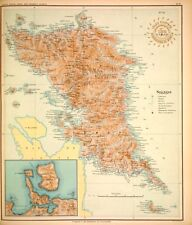 PHILIPPINE ISLANDS - SAMAR - BATAC - LAGUAN  1899 Original Antique Map