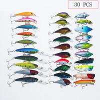 Lot 30pcs Kinds of Fishing Lures Crankbait Minnow Poper Bass Baits Hooks Tackle