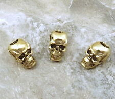 3 Gold Tone Pewter Beads - 7mm SKULL with 3.5mm Vertical Hole  - 5111