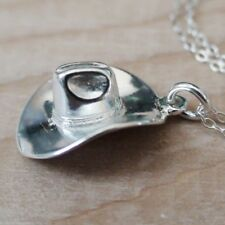 Cowboy Hat Necklace - 925 Sterling Silver - Wild West Charm Cowgirl Pendant NEW