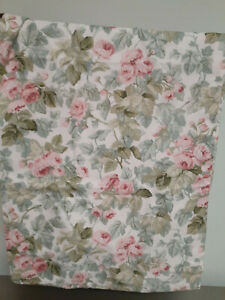 """Vintage Laura Ashley Cottage Rose One Panel Drape-86"""" long Green & Pink Lined"""
