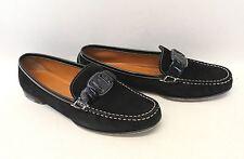 SALVATORE FERRAGAMO Ladies Black Suede Round Toe Moccasin Shoes UK7.5 US9.5