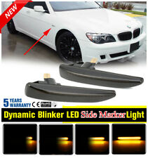 FOR BMW E65/E66 7 Series 02-08 Replacement Smoke Dynamic Side Marker Light Set ~