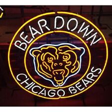 "New Chicago Bears Bear Neon Light Sign 24""x24"" Lamp Poster Real Glass Beer Bar"