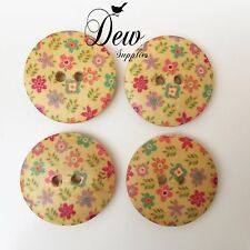 10 x 25mm Floral Buttons, wooden 2 hole button Sew Sewing Scrapbooking wood