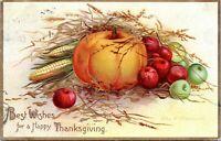 1907 Ellen Clapsaddle Signed Thanksgiving Harvest Pumpkin Embossed Postcard BY