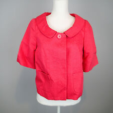 Ann Taylor Loft Pink Blazer Sz 6 Short Sleeve Pockets Button Down 100% Cotton vh