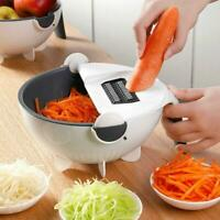 Kitchen Fruit Grater Slicer Magic Rotate Vegetable Cutter with Drain Basket Tool