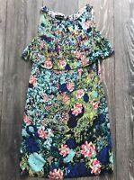 Warehouse UK Size 6 Abstract Green & Pink Sleeveless Dress Spring Summer Holiday