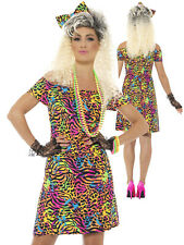 Ladies 80's Party Animal Costume Fancy Dress Size M 12-14 Madonna Pop Music