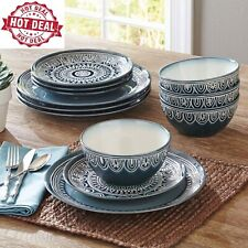 Better Homes & Gardens Teal Medallion 12-Piece Dinnerware Set