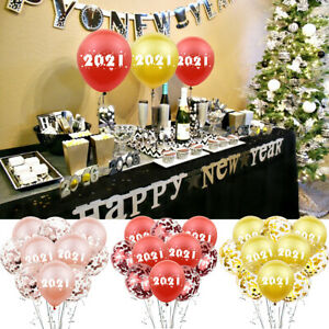 Happy New Year Foil Latex Confetti Balloon Set 2021 Number Xmas Party Decoration