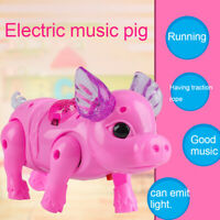 Electric Walking Singing Musical Light Pig Toy + Leash Interactive Kids Toy Gift
