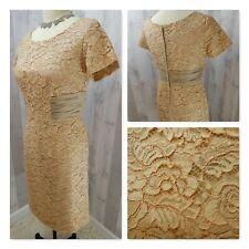 1950s True Vintage DRESS~TAUPE LACE/ORGANZA SHEATH WEDDING ROCKABILLY PINUP Lrg