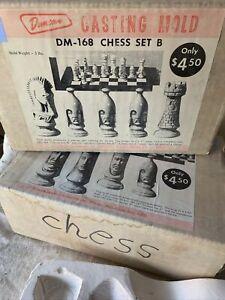 Vintage 1965 Duncan Ceramic Slip Cast Mold Chess Set A&B DM 167/168 Unique Rare