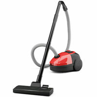 Vacuum Cleaner Canister Bagged Cord Rewind Carpet Hard Floor w Washable Filter