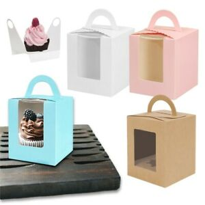 1~20X Single Cupcake Cake Boxes With Display Window Box Cup Cakes