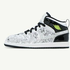 Air Jordan 1 Mid SE GS White Black Volt Size 6y Youth 7.5w Women's Deadstock