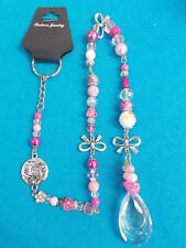 LOVELY SUN CATCHER - SILVER BOWS - CRYSTALS AND BEADS 51 cm PINK/CLEAR # 309