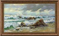 """Hand-painted Original Oil painting art Landscape seascape on Canvas 24""""x40"""""""