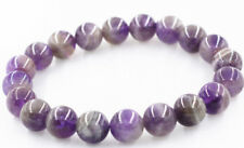 Real Natural 10mm Brazil Amethyst Round Gems Beads Stretchy Bracelet 7.5''