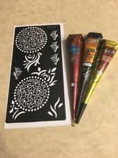 USA SELLER!! Henna Stencil Kit DYI #S205 + 3 Multicolored Henna Cones