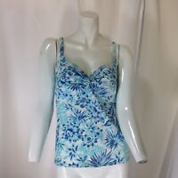 Lands End Womens Blue and White Floral Patterned Tankini Size 4