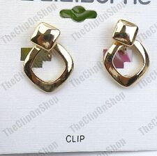 """CLIP ON retro GOLD FASHION 1"""" drop hoops SQUARE EARRINGS small hoop clips"""