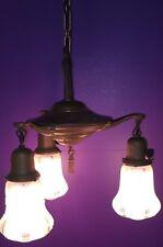 Original Brass Patina Three Light Fixture With Shades Wired Antique Light 38D