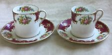 2 X SHELLEY DUCHESS RED 13401 BEAUTIFUL DEMITASSE CUPS & SAUCERS VERY GOOD