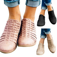 Womens Low Block Heel Ankle Boots Lady Slip On Chunky Casual Booties Shoes Size