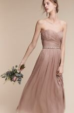 NWT BHLDN Monique Lhuillier Rose Nude Shimmery Ruched Strapless Gown Dress 16