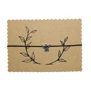 Schutzengel Glücks Makramee Glücksbringer Armband Silber, bis 27 cm verstellbar
