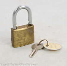 Vintage ABUS  Brass Five Cylinder Padlock With Key Nice Patina