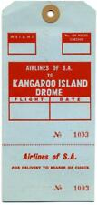 SOUTH AFRICAN AIRWAYS to KANGAROO ISLAND Australia - Old Airline Luggage Tag