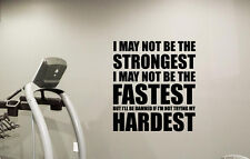 Gym Quote Wall Art Fastest Hardest Decal Sport Fitness Vinyl Sticker Decor 89quo