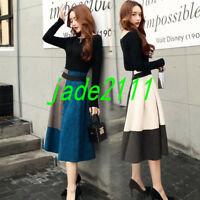 Womens Korean Fashion Long Slim Fit Elegant 2PCS Long Dress Formal Casual Skirt