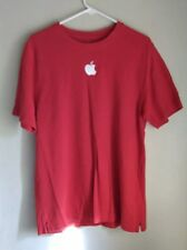 APPLE GENIUS Employee T-Shirt Men's Large M Red Mac Crewneck Embroidered Rare
