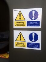 MILITARY LAND ROVER SNATCH  XD WOLF WMIK BOWMAN  FUEL WARNING DECAL X2