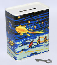 1948-50 Tin Lithographed Space Robot Theme Coin Bank with Key, Old Store Stock!