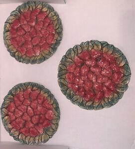 "Majolica Set 3 Takahashi Plates Strawberry Red Leaf Grn 8"" Round San Francisco"