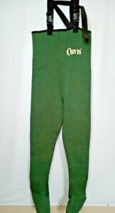 Vintage Orvis Chest High Fly Fishing Waders Mens Small Long Neoprene Foot Green