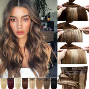 Highlight 7PCS/8PCS Clip In Real Remy Human Hair Extensions Balayage Hairpiece