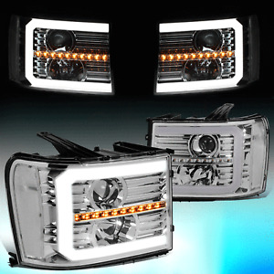 FOR 2007-2014 SIERRA GMT900 LED DRL+SEQUENTIAL TURN SIGNAL PROJECTOR HEADLIGHT