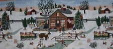 MIDWINTER A CHRISTMAS VINTAGE SNOW SCENE IN TAPESTRY WITH TASSELS TABLE RUNNER
