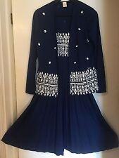 Vintage ALFRED SHAHEEN HAWAII Tiki Print Dress & Jacket Navy Blue SZ 10 EUC